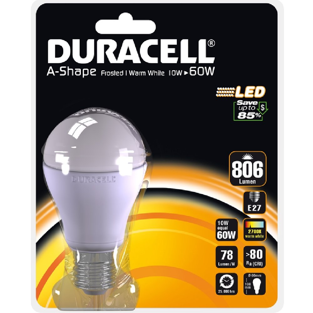 LED-Gluehl. 10,0 W E27 806 lm 2700 K Duracell A 17 B1